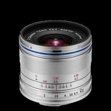 Laowa 7.5 mm f/2 MFT stříbrné provedení